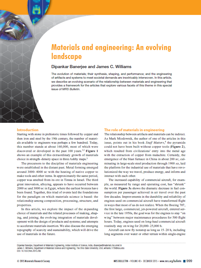 Materials and engineering: An evolving landscape