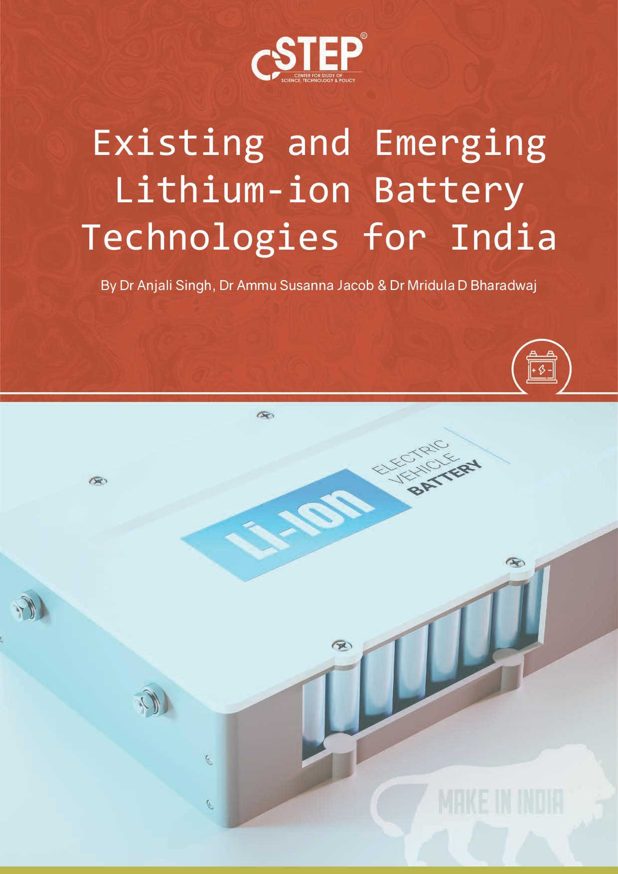 Existing and Emerging Lithium-ion Battery Technologies for India